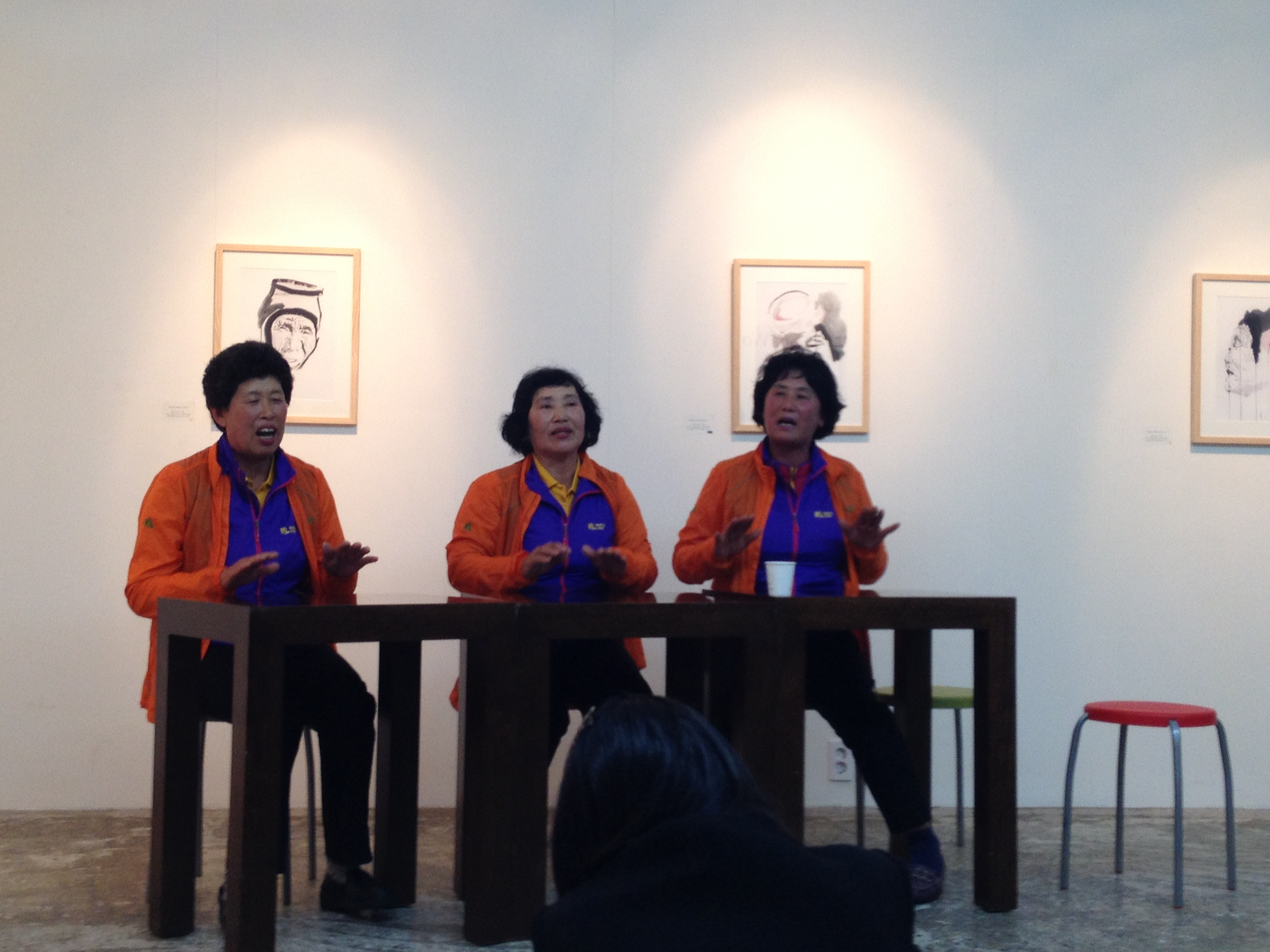 Haenyeo performing a traditional song following a showing of SeaWomen