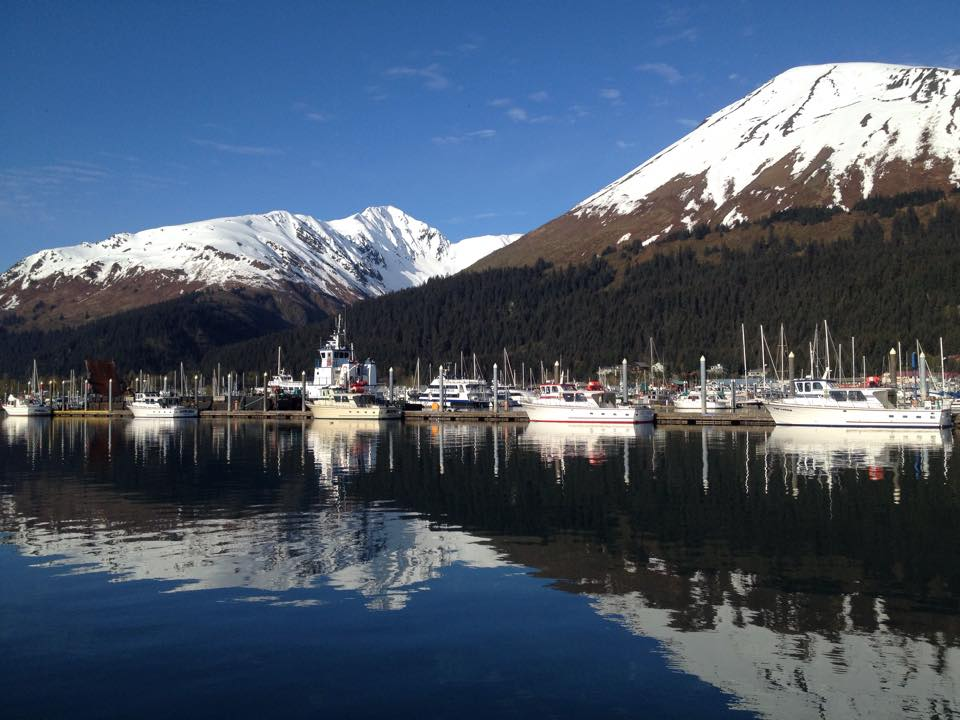 Seward Harbor, clear and sunny